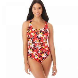 NWT Slimming Strappy Front One Piece Swimsuit XL R